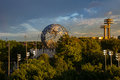 View of the globe in Flushing Meadows corona park in Queens New York Royalty Free Stock Photo
