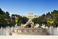 View on gloriette structure and neptune fountain in schonbrunn palace vienna austria Royalty Free Stock Photo