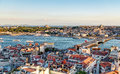 View of the Golden Horn and old areas of Istanbul at sunset Royalty Free Stock Photo