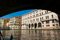 A view from gondola ride under rialto bridge on the canals of ve venice in italy Royalty Free Stock Image
