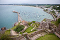 View gorey harbour mont orgueil castle jersey channel islands Royalty Free Stock Image