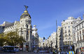 A view of Gran Via, in Madrid Royalty Free Stock Photo