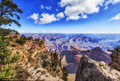View of Grand Canyon from rim trail Royalty Free Stock Photo