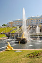 View of the Grand Palace and the cascade of fountains Royalty Free Stock Photo