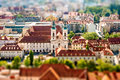 View on graz city aerial in austria tilt shift image technic Royalty Free Stock Photography
