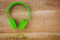 View of a green headphone Royalty Free Stock Photo