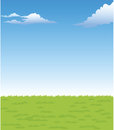 The view of green landscape with sky Stock Photos