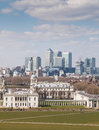 View of greenwich park and the buildings of the national maritime museum queen s house and the royal naval college canary whark Stock Images