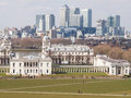 View of greenwich park and the buildings of the national maritime museum queen s house and the royal naval college canary whark Stock Photo