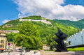 View of the grenoble bastille from esplanade francois mitterand Royalty Free Stock Photography