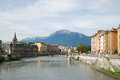View of Grenoble with the wide river Isere. Royalty Free Stock Image