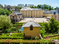 View on the grund district of luxembourg city with neumuenster abbey and alzette river Royalty Free Stock Photos