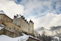 View of the gruyere castle covered with snow in winter switzerland Stock Photo