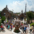 View of Guell park and gingerbread house Stock Images