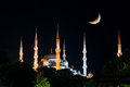 View of the hagia sophia at night in istanbul turkey with crescent Royalty Free Stock Images