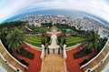 View of Haifa, Bahai Gardens and Shrine of the Bab Stock Image