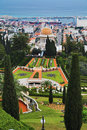 View of Haifa, Bahai Gardens and Shrine of the Bab Stock Images
