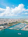 View of the harbor district in barcelona spain aerial Stock Photography