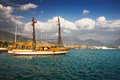 View harbor sightseeing ship alanya turkey middle east Royalty Free Stock Images
