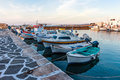 View of the harbour of Greek Island Paros Royalty Free Stock Photo