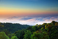View from the highest mountain in thailand in doi inthanon national park amazing photo was taken at sunrise of earth Royalty Free Stock Images