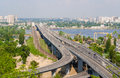 View of highway and railway bridges from a hill over the dnieper river Royalty Free Stock Photos