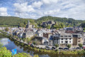 View from hill on belgian city La Roche-en-Ardenne Royalty Free Stock Photo
