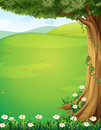 A view of the hills with a tree and flowers illustration Royalty Free Stock Image