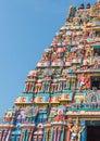 View of hindu temple tower at sarangapani temple, Tamilnadu, India - Dec 17, 2016