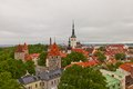 View of historical center of tallinn estonia unesco site in stormy weather world heritage Stock Image