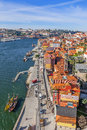 View of the historical ribeira district and douro river in city porto portugal unesco world heritage site Royalty Free Stock Images