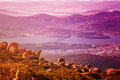 View of Hobart city, Mount Wellington Royalty Free Stock Photo