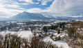 View from Hohensalzburg Castle towards the Austrian side of the Untersberg in the winter, Salzburg, Austria Royalty Free Stock Photo