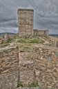 View of the homage tower from one battlement stronghold feria is most remarkable castle in extremadura spain not only for its Stock Image