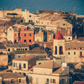 View homes in corfu town close up greece vintage coaster Stock Photo