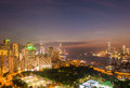 View of hong kong during sunset hours stock photography concept for usage Stock Photography