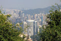 View of hong kong from victoria peak trail Stock Photos