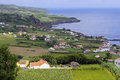 The view of horta bay faial surrounding azores Stock Photo