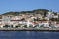 View of horta on faial azores portugal panorama the town the island Royalty Free Stock Images