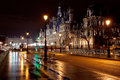 View hotel de ville city hall paris france night Stock Photos