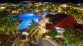 View on hotel and swimming pool at night Royalty Free Stock Photo
