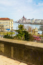 View of hungarian parliament building and danube river budapest lions chain bridge city buildings from buda hill hungary Royalty Free Stock Images