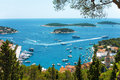 View of Hvar Harbor from the Spanish Fortress in Croatia Royalty Free Stock Photo