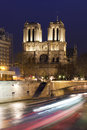 View if the notre dame and siena in paris at night france Stock Photo