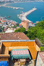 View from the inner castle kizil kule red tower tourist attraction in turkish city of alanya Stock Image