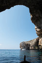 View from inside the Blue Grotto sea cave. Malta Royalty Free Stock Photo