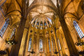 View of interior of The Cathedral of the Holy Cross and Saint Eulalia, the Gothic cathedral of Barcelona Royalty Free Stock Photos
