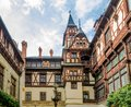 View of the interior courtyard at the Peles Castle