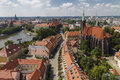 View of the island tumski from a height wroclaw poland Stock Photo