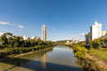 View of Itajai river at Blumenau, Santa Catarina. Royalty Free Stock Photo